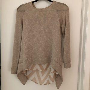 Bar III Knit Overlay Sweater with Chiffon